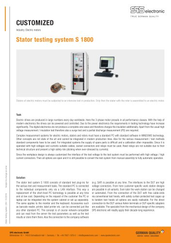 Testing system for stators S1800