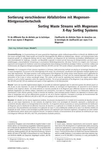 Sorting Waste Streams with Mogensen X-Ray Sorting Systems