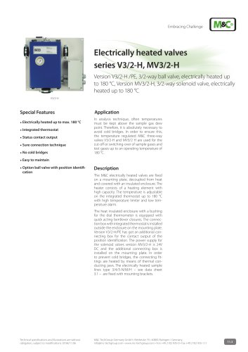 Electrically heated valves series V3/2-H, MV3/2-H