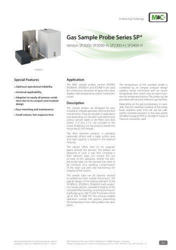 Gas Sample Probe Series SP® - Version SP2000, SP2000-H, SP2400-H