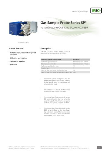 Gas Sample Probe Series SP® - Version SP2200-H/C/I/BB/F