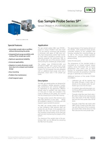 Gas Sample Probe Series SP® - Version SP2500-H/C/I/BB