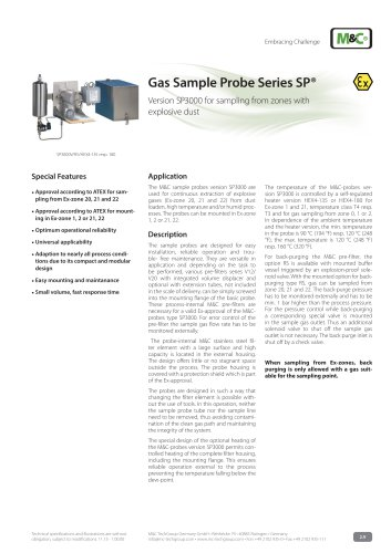 Gas Sample Probe Series SP® - Version SP3000/Ex