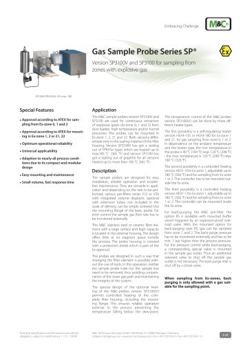 Gas Sample Probe Series SP® - Version SP3100/EX