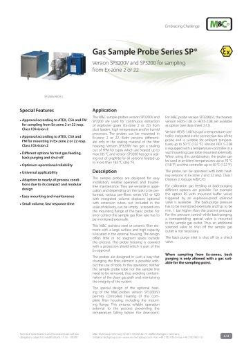 Gas Sample Probe Series SP® - Version SP3200/EX