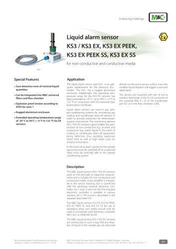 Liquid alarm sensor KS3 / KS3 EX, KS3 EX PEEK, KS3 EX PEEK SS, KS3 EX SS