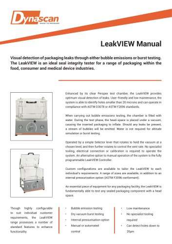 Dynascan LeakVIEW Manual Technical Datasheet