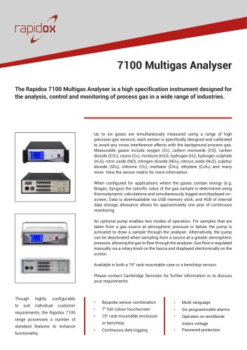Rapidox 7100 Technical Datasheet