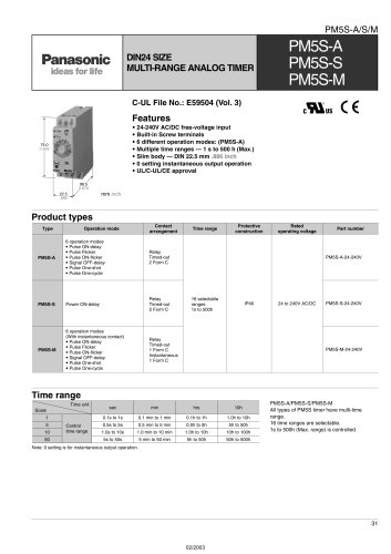 Pm5s - Analog Din-rail Timer - Panasonic Electric Works Europe Ag