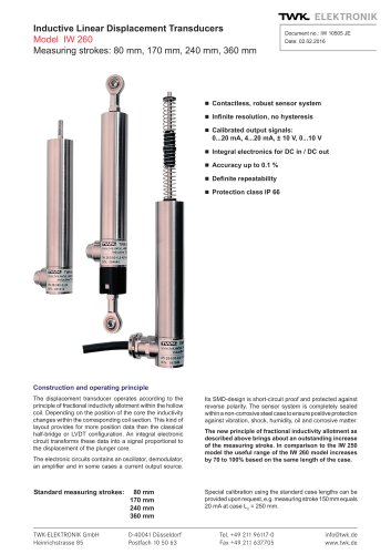 Inductive linear displacement transducers IW260