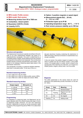 Magnetostrictive displacement transducer MPA
