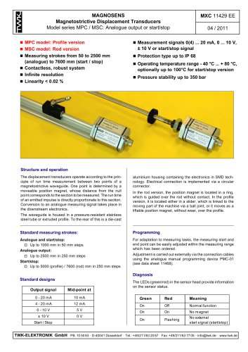 Magnetostrictive displacement transducer MPC
