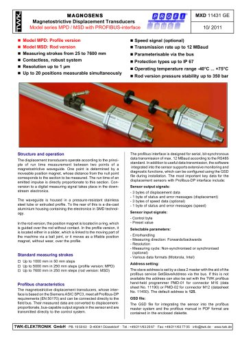 Magnetostrictive displacement transducer MPD