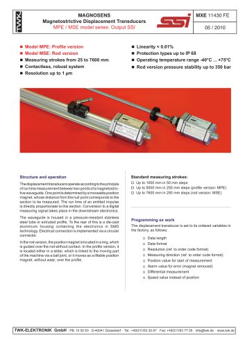 Magnetostrictive displacement transducer MPE