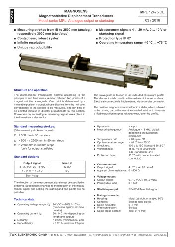 Magnetostrictive displacement transducer MPL