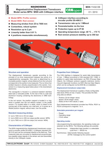 Magnetostrictive displacement transducer MSN