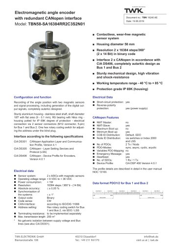 Rotary encoder TBN58/R2 redundant