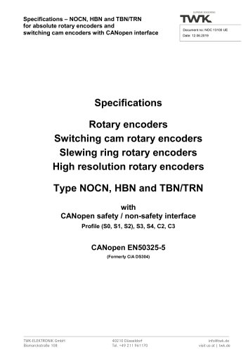 Switching cam encoder NOCN/S3 SIL2/PLd manual