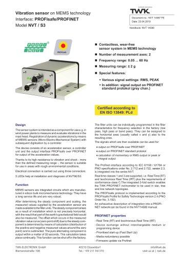 Vibration sensor NVT/S3 PLd