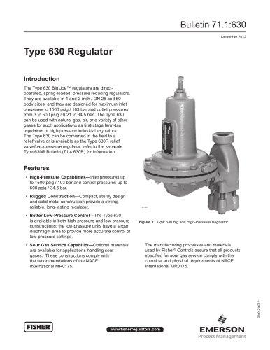 630 Regulator - FISHER REGULATORS - PDF Catalogs | Technical