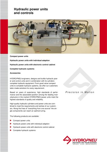 Hydraulic Power Units and Controls