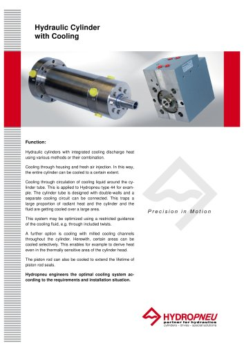 Special Cylinders · Hydraulic Cylinder with Cooling