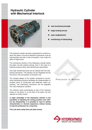 Special Cylinders · Hydraulic Cylinder with Mechanical Interlock