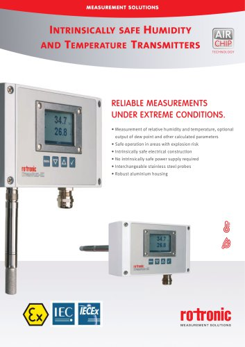 HygroFlex5-EX - HF5-EX Intrinsically Safe Humidity and Temperature Transmitter