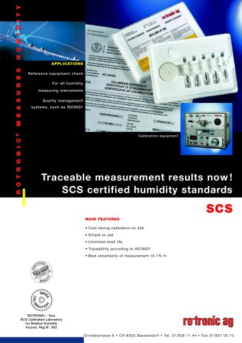 SCS Humidity Standards Datasheet