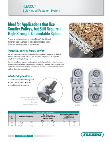 Flexco® Bolt Hinged Fastener System