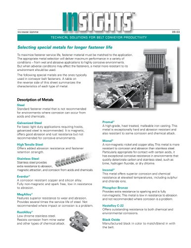 Selecting Special Metals for Longer Fastener Life