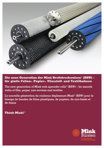 Mink web spreader rolls - for smooth webs of film, paper, non-wovens and textiles