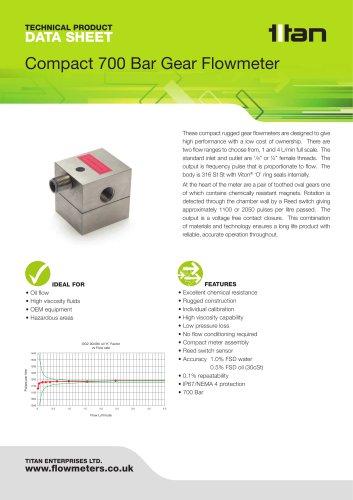 Compact 700 Bar Gear Flowmeter
