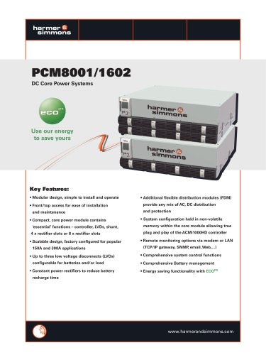PCM8001/1602 DC Core Power Systems