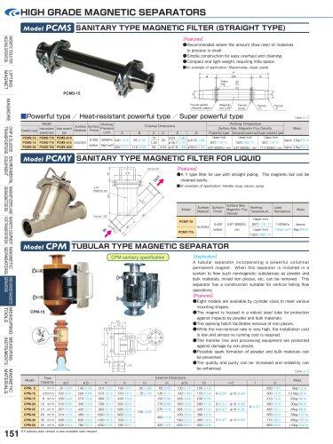 Model PCMS SANITARY TYPE MAGNETIC FILTER (STRAIGHT TYPE