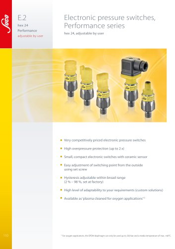 """E.2 Electronic pressure switch hex 24 """"Performance"""""""