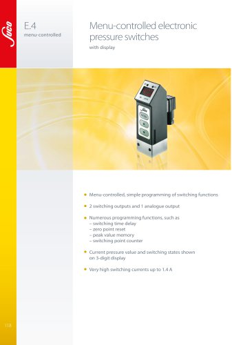 E.4 Menu-controlled electronic pressure switches