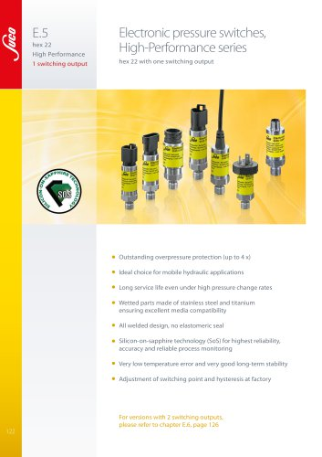 """E.5 Electronic pressure switches hex 22 """"High-Performance"""""""