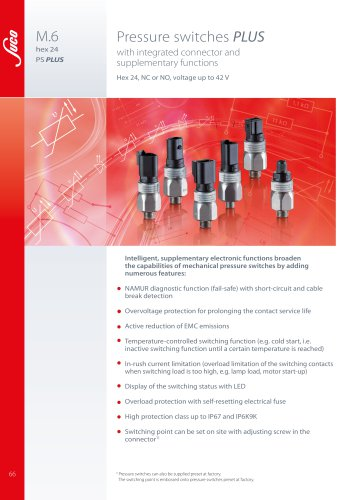 Pressure switches PLUS with integrated connector and supplementary functions