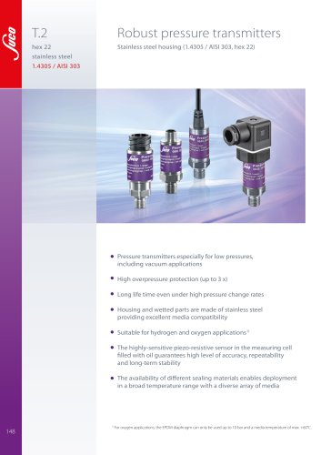 T.2 Robust pressure transmitters hex 22