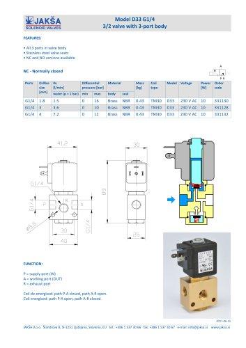 D33 G1/4 3/2 valve with 3-port body