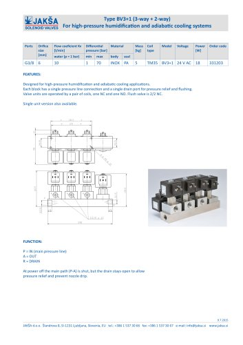 Type BV3+1 (3-way + 2-way) For high-pressure humidification and adiabatic cooling systems