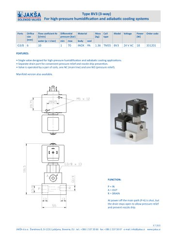 Type BV3 (3-way) For high-pressure humidification and adiabatic cooling systems