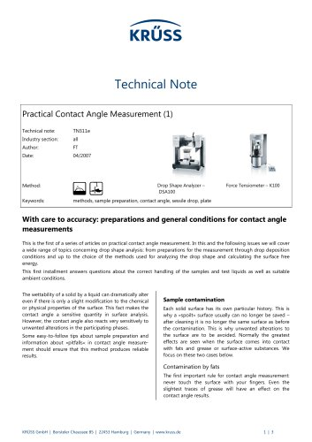 Contact angle measurement in practice (1): Preparations and general conditions for contact angle measurements