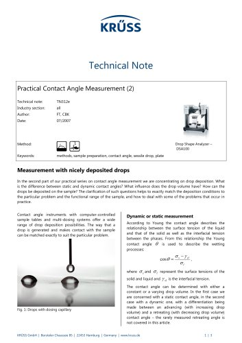 Contact angle measurement in practice (2): Measurement with nicely deposited drops