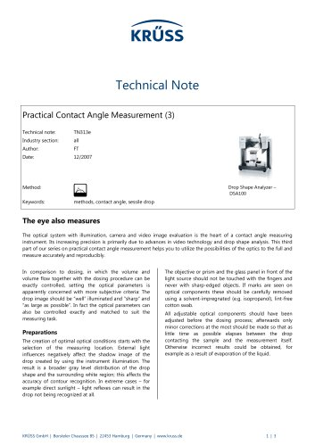Contact angle measurement in practice (3): The eye also measures