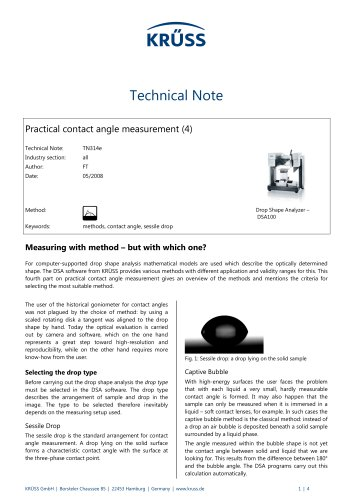 Contact angle measurement in practice (4): Measuring with method – but with which one?