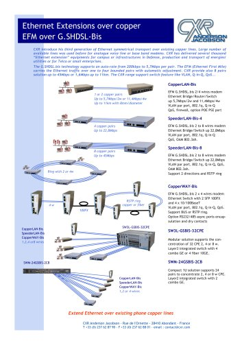GSHDSL-BIS EFMV Extensions d Ethernet sur cuivre