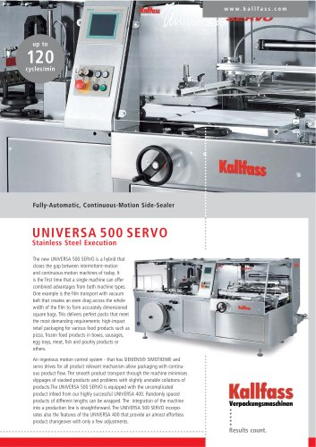 Fully-Automatic, Continuous-Motion Side Sealer UNIVERSA 500 SERVO Stainless Steel Execution