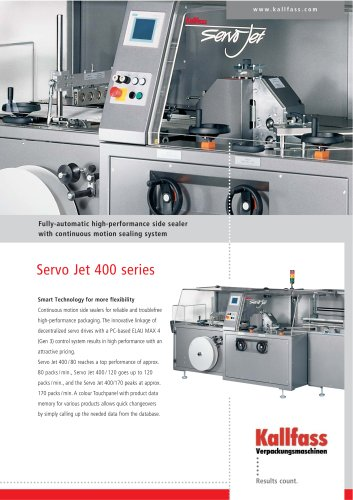 Fully-automatic high-performance side sealer with continuous motion sealing system SERVO JET 400